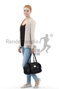 3d people shopping, white 3d woman with red hair carrying her purse