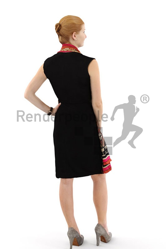 3d people event, white 3d woman with red hair in evening dress