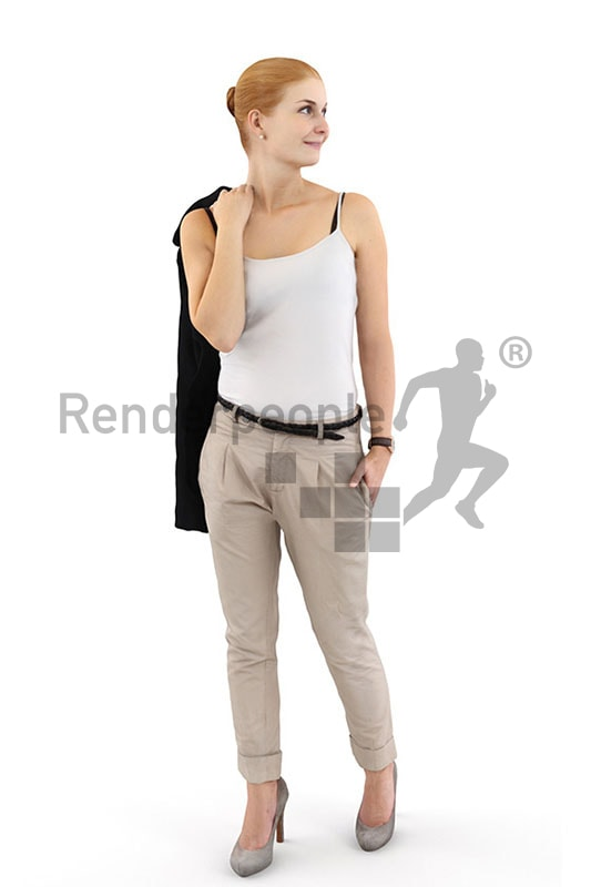 3d people casual, white 3d woman with red hair looking over her shoulder