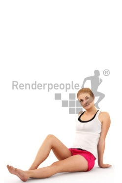 3d people summer, white 3d woman sitting