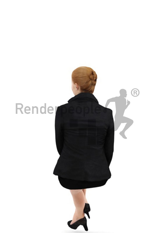 3d people business, white 3d woman with red hair sitting