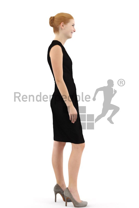 3d people business, white 3d woman with red hair standing