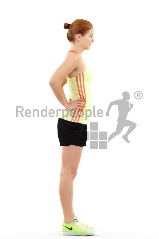 3d people sports, white 3d woman standing in a sports outfit