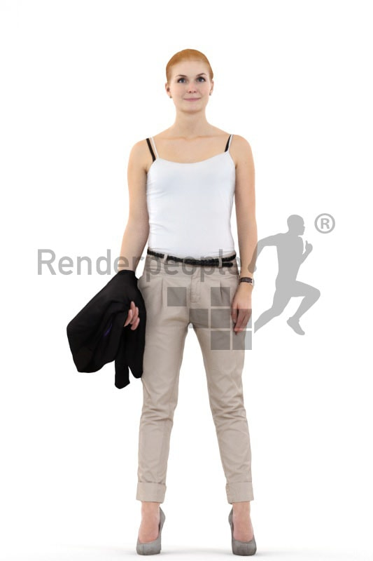 3d people casual, white 3d woman standing and holding her jacket
