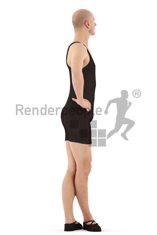 3d people sports, white 3d man doing ballet