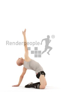 3d people sports, white 3d man doing ballet