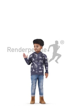 Animated 3D People model for visualization – black kid in casual hoodie, standing and waving