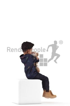 3d people casual, 3d black kid, sitting and cuddling with his soft toy