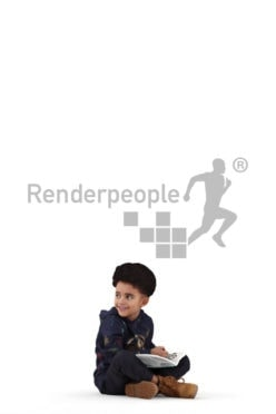 3d people casual, 3d black kid, sitting and reading