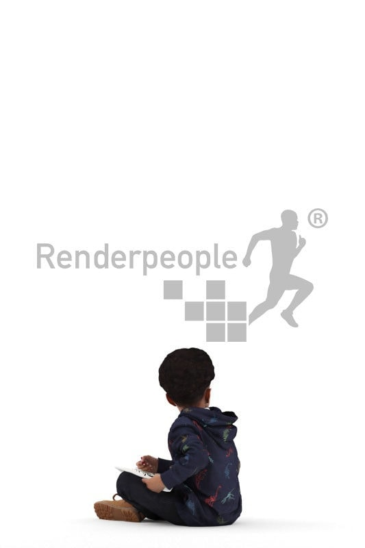 people casual, 3d black kid, sitting and reading