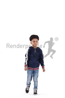 people casual, 3d black kid, walking