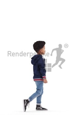 3d people casual, 3d black kid, walking