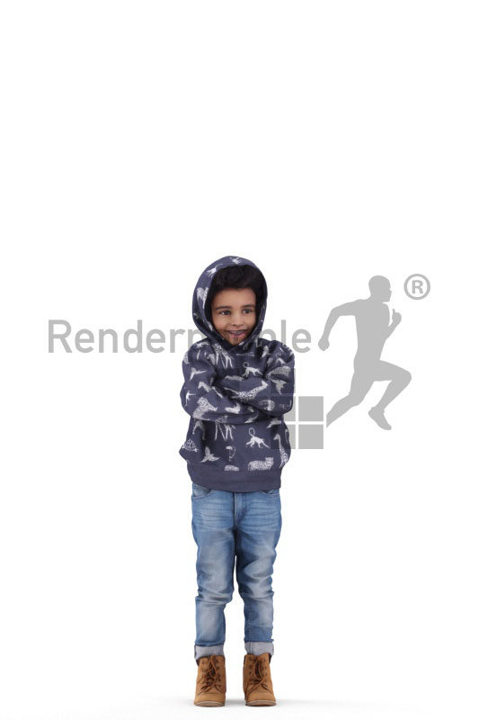 Posed 3D People model for renderings – black child in casual winter outfit
