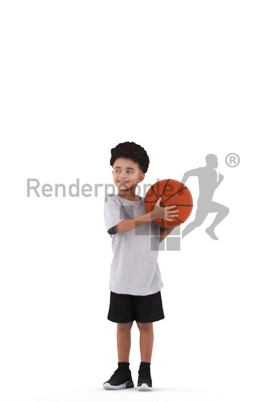 3d people sports, 3d black kid, standing with a ball