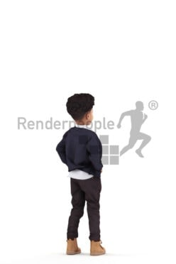 3d people casual, 3d black kid, standing