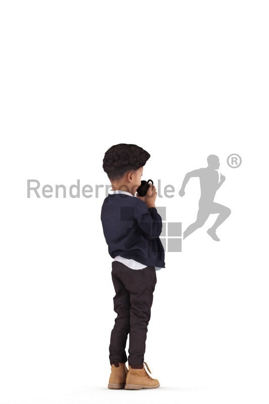 3d people casual, 3d black kid, drinking