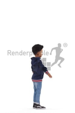 3d people casual, 3d black kid rigged