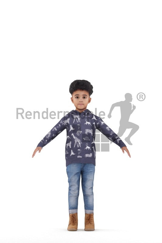 Rigged human 3D model by Renderpeople – black boy, casual