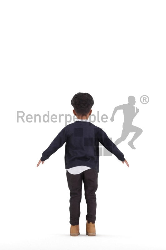 Rigged and retopologized 3D People model – black boy, casual, fall