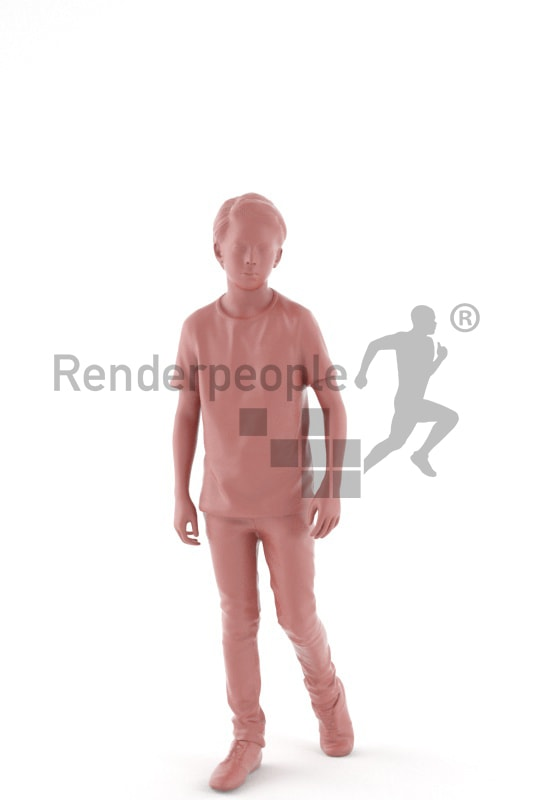 3d people kids, white 3d child walking