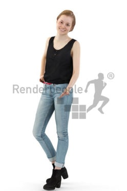 3d people casual, white blond 3d woman standing