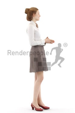 3d people business, white 3d woman standing