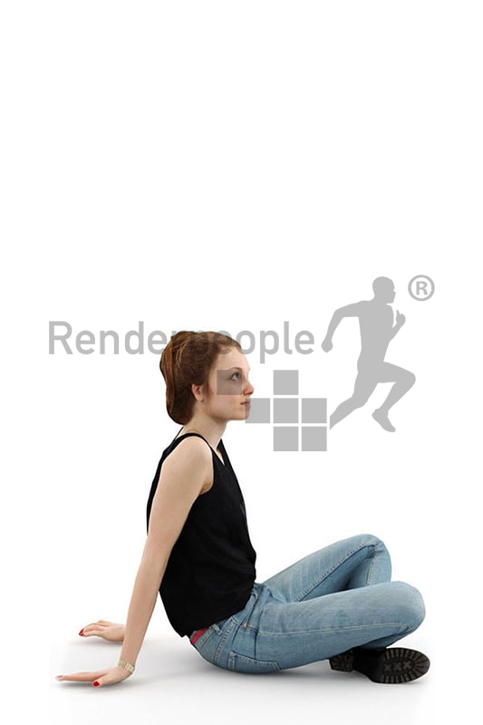 3d people casual, white blond 3d woman sitting on the floor