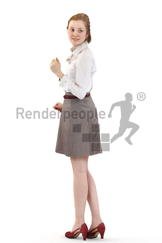 3d people business, white 3d woman looking over her shoulder