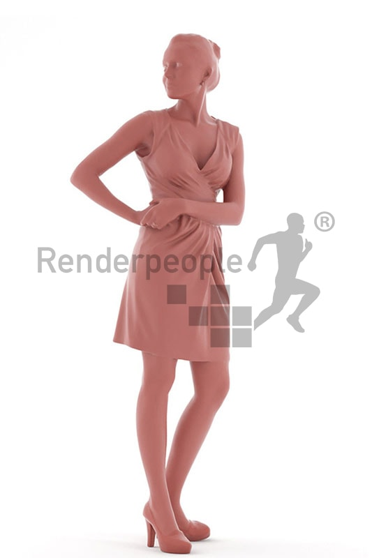 3d people event, white 3d woman looking over her shoulder