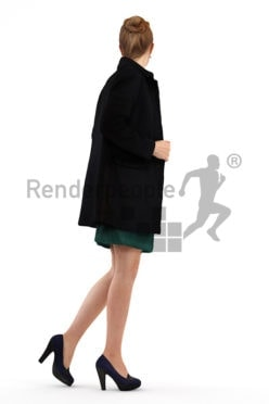 3d people event, white 3d woman wearing a coat and looking over her shoulder