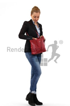 3d people shopping, white 3d woman looking in her purse