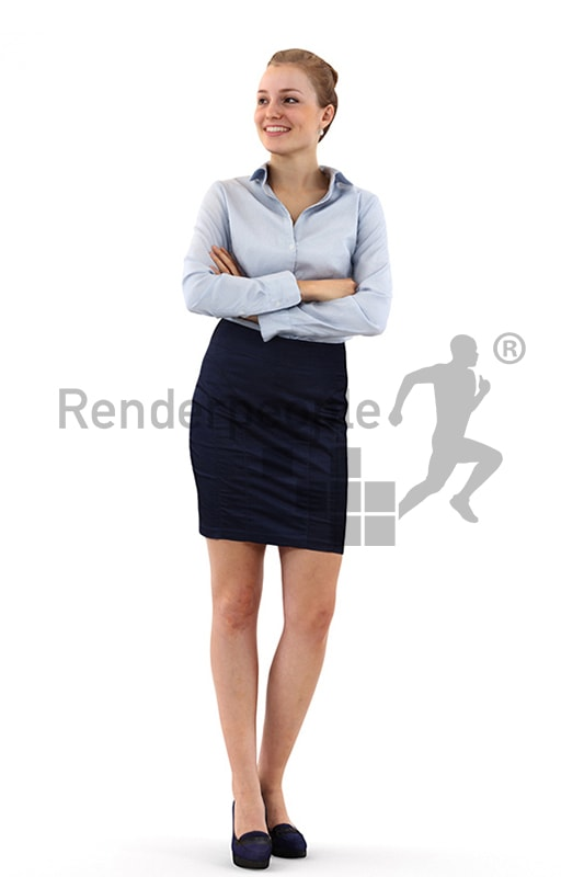 3d people business, white 3d woman with her arms folded and smiling