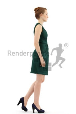 3d people event, white 3d woman wearing a nice green dress
