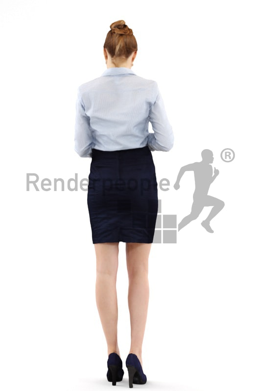 3d people business, white 3d woman standing and typing on her phone