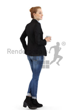 3d people business, white 3d woman standing and holding a cup