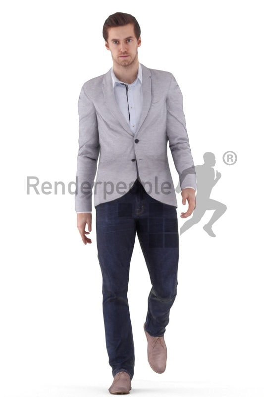 3d people businesss, white animated 3d man walking