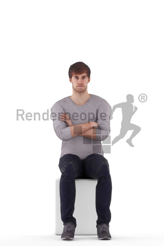 Animated 3D People model for 3ds Max and Maya – white man in casual outfit, sitting