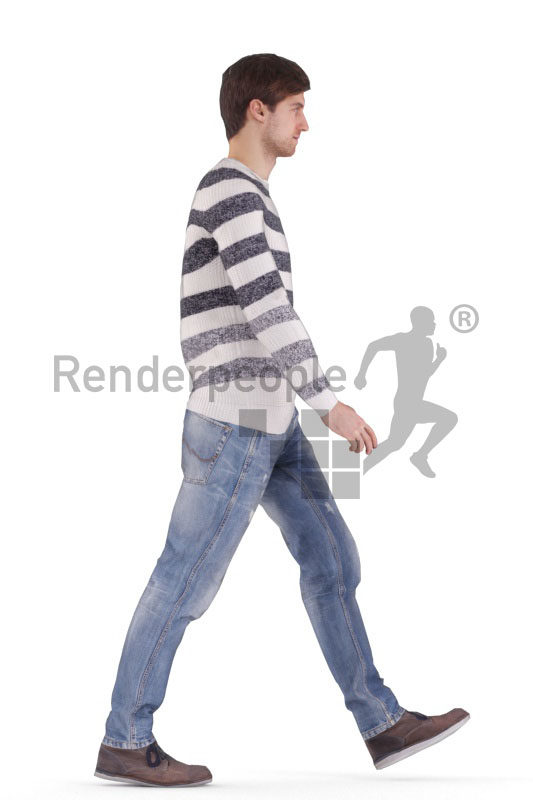 Human 3D model for animations – european male in casual look, walking