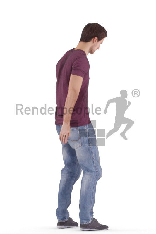 Animated 3D People model for 3ds Max and Maya – european male in daily dress, standing
