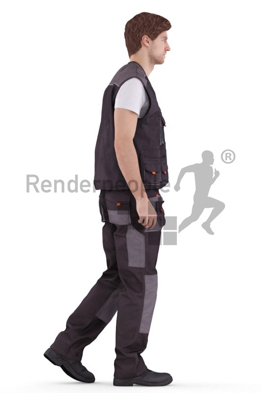 3d people worker, white 3d man walking and operating a lift truck