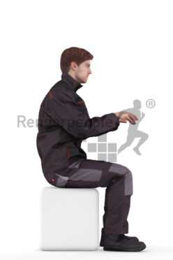 3d people worker, white 3d man sitting and typing