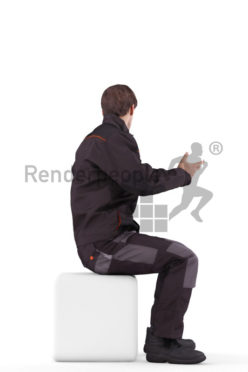 3d people worker, white 3d man driving a fork truck and typing talking