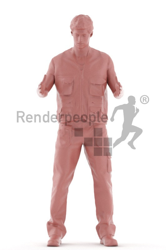 3d people worker, white 3d man holding a box