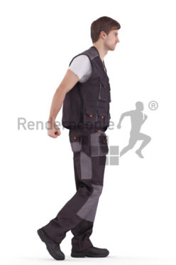 3d people worker, white 3d man pulling
