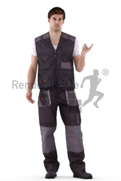 3d people worker, white 3d man standing, talking to someone while pointing somewhere