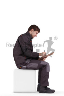 3d people worker, white 3d man sitting writing on his clipboard