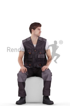 3d people worker, white 3d man sitting and looking