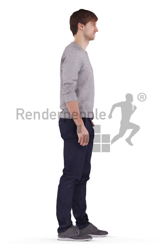 3d people casual, white 3d man standing and waiting