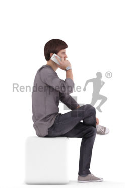 3d people casual, white 3d man sitting and calling