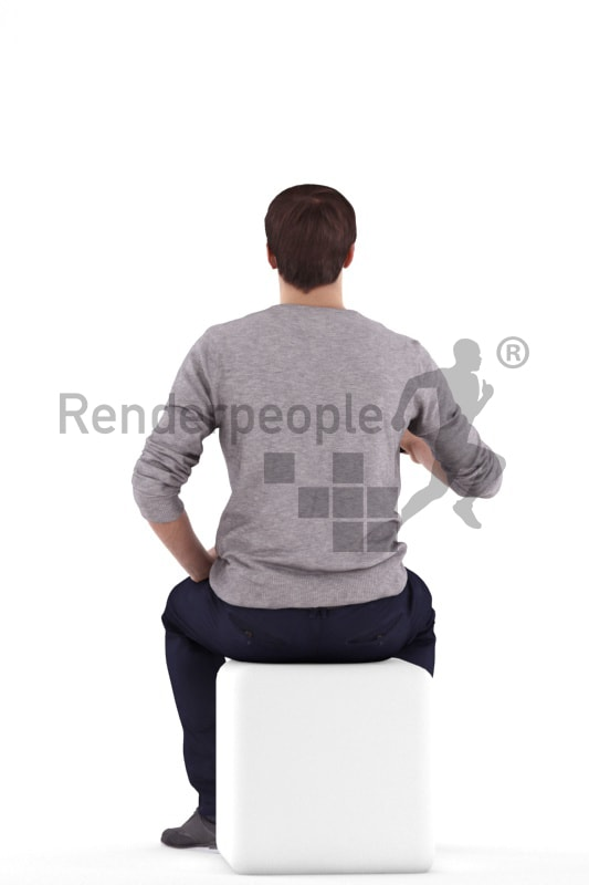 3d people casual, white 3d man sitting and drinking